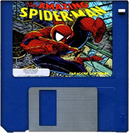 Cartridge artwork for Amazing Spider-Man on the Commodore Amiga.