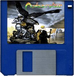 Cartridge artwork for Amberstar on the Commodore Amiga.