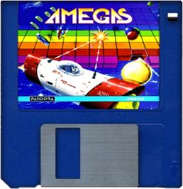 Cartridge artwork for Amegas on the Commodore Amiga.