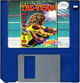 Cartridge artwork for American Tag Team Wrestling on the Commodore Amiga.