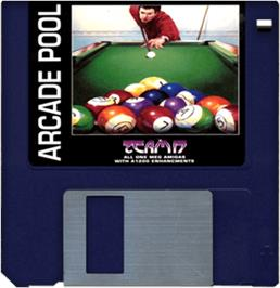 Cartridge artwork for Arcade Pool on the Commodore Amiga.