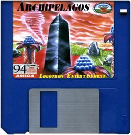 Cartridge artwork for Archipelagos on the Commodore Amiga.
