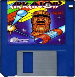 Cartridge artwork for Arkanoid on the Commodore Amiga.