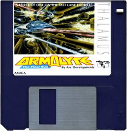 Cartridge artwork for Armalyte on the Commodore Amiga.