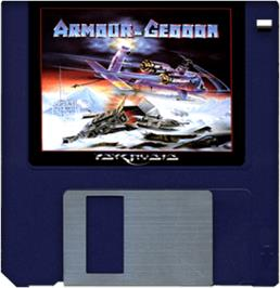 Cartridge artwork for Armour-Geddon on the Commodore Amiga.