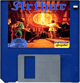 Cartridge artwork for Arthur: The Quest for Excalibur on the Commodore Amiga.