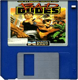 Cartridge artwork for Bad Dudes on the Commodore Amiga.