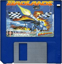 Cartridge artwork for Bad Lands on the Commodore Amiga.
