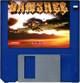 Cartridge artwork for Banshee on the Commodore Amiga.