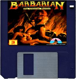 Cartridge artwork for Barbarian on the Commodore Amiga.