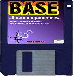 Cartridge artwork for Base Jumpers on the Commodore Amiga.