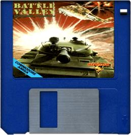 Cartridge artwork for Battle Valley on the Commodore Amiga.