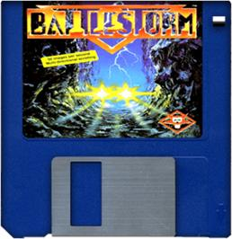 Cartridge artwork for Battlestorm on the Commodore Amiga.