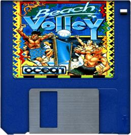 Cartridge artwork for Beach Volley on the Commodore Amiga.