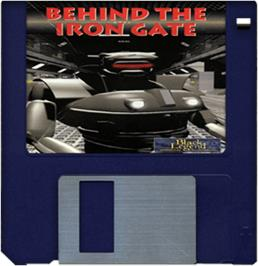 Cartridge artwork for Behind the Iron Gate on the Commodore Amiga.
