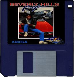 Cartridge artwork for Beverly Hills Cop on the Commodore Amiga.