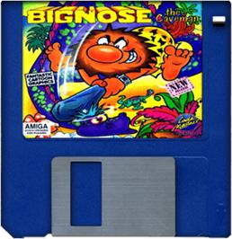 Cartridge artwork for Big Nose the Caveman on the Commodore Amiga.