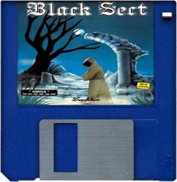 Cartridge artwork for Black Sect on the Commodore Amiga.