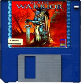 Cartridge artwork for Blade Warrior on the Commodore Amiga.