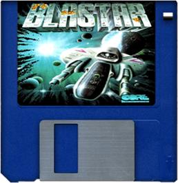 Cartridge artwork for Blastar on the Commodore Amiga.