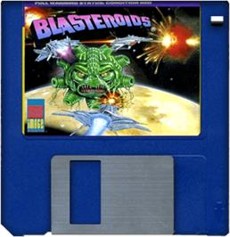 Cartridge artwork for Blasteroids on the Commodore Amiga.