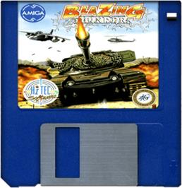 Cartridge artwork for Blazing Thunder on the Commodore Amiga.