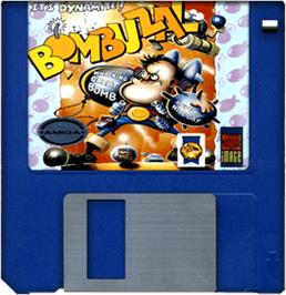 Cartridge artwork for Bombuzal on the Commodore Amiga.