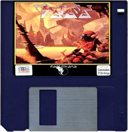 Cartridge artwork for Brataccas on the Commodore Amiga.