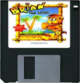 Cartridge artwork for Brian the Lion on the Commodore Amiga.