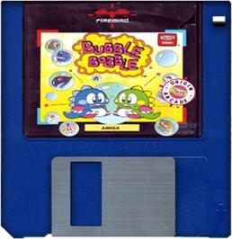 Cartridge artwork for Bubble Bobble on the Commodore Amiga.