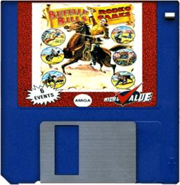 Cartridge artwork for Buffalo Bill's Wild West Show on the Commodore Amiga.