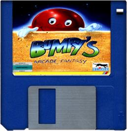 Cartridge artwork for Bumpy's Arcade Fantasy on the Commodore Amiga.