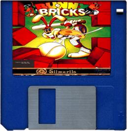 Cartridge artwork for Bunny Bricks on the Commodore Amiga.