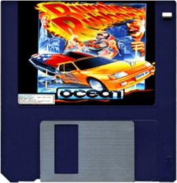 Cartridge artwork for Burning Rubber on the Commodore Amiga.