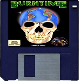 Cartridge artwork for Burntime on the Commodore Amiga.