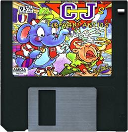Cartridge artwork for CJ's Elephant Antics on the Commodore Amiga.