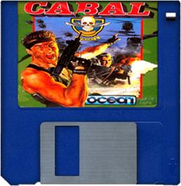 Cartridge artwork for Cabal on the Commodore Amiga.