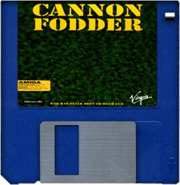 Cartridge artwork for Cannon Fodder on the Commodore Amiga.