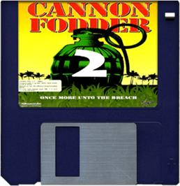 Cartridge artwork for Cannon Fodder 2 on the Commodore Amiga.