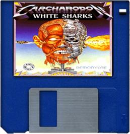 Cartridge artwork for Carcharodon: White Sharks on the Commodore Amiga.