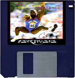 Cartridge artwork for Carl Lewis Challenge on the Commodore Amiga.