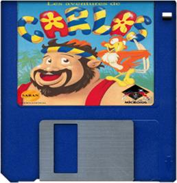Cartridge artwork for Carlos on the Commodore Amiga.