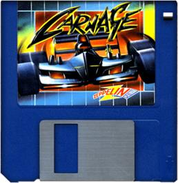 Cartridge artwork for Carnage on the Commodore Amiga.