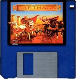 Cartridge artwork for Carthage on the Commodore Amiga.