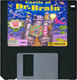 Cartridge artwork for Castle of Dr. Brain on the Commodore Amiga.