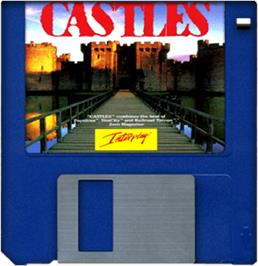 Cartridge artwork for Castles: The Northern Campaign on the Commodore Amiga.