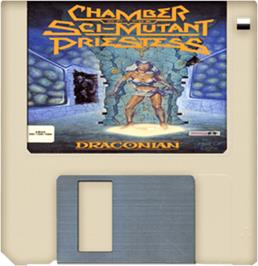 Cartridge artwork for Chamber of the Sci-Mutant Priestess on the Commodore Amiga.