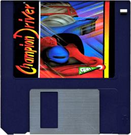 Cartridge artwork for Champion Driver on the Commodore Amiga.