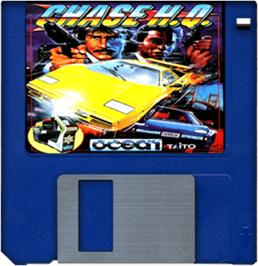 Cartridge artwork for Chase H.Q. on the Commodore Amiga.