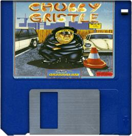 Cartridge artwork for Chubby Gristle on the Commodore Amiga.